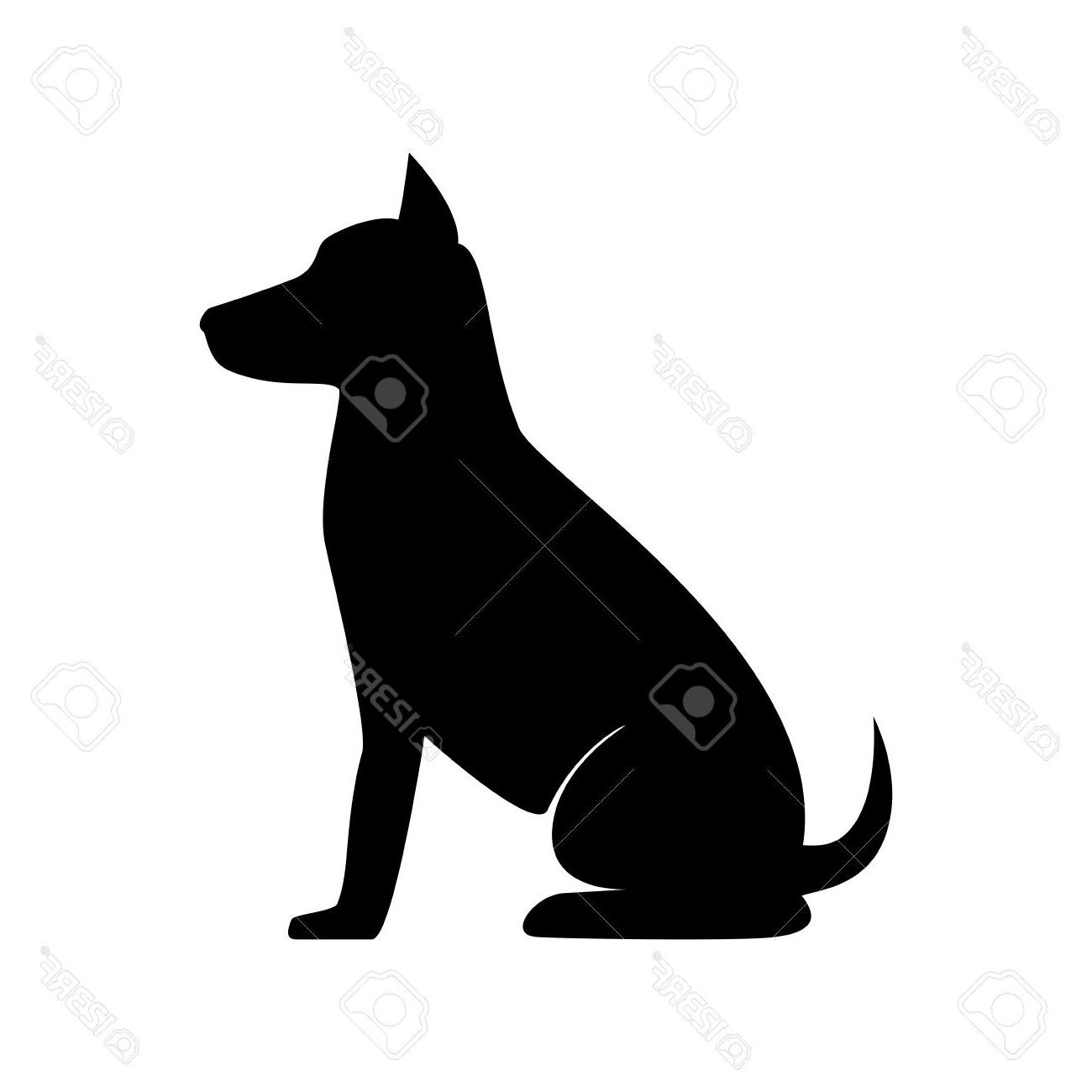 Top Dog Sit Pet Canine Animal Puppy Mascot Silhouette Vector