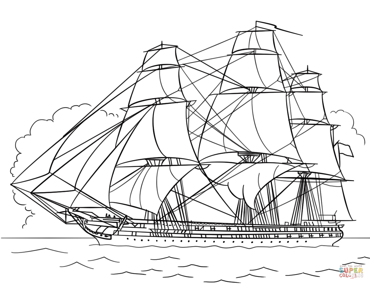 Uss Constitution Coloring Page