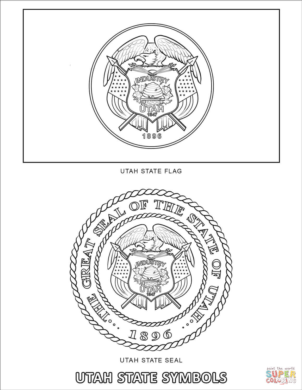 Utah State Symbols Coloring Page