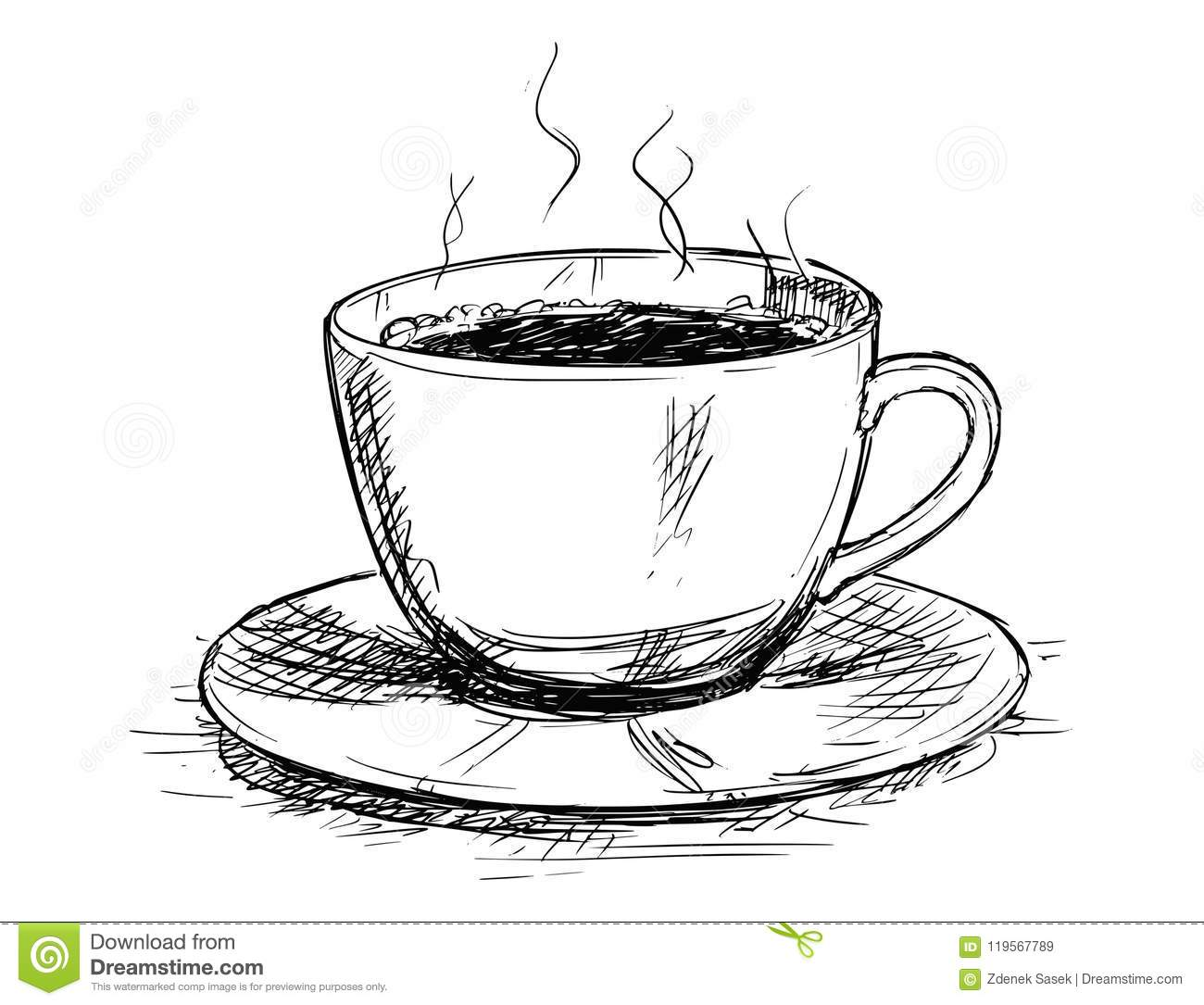 Vector Sketch Drawing Illustration Of Coffee Cup Stock Vector