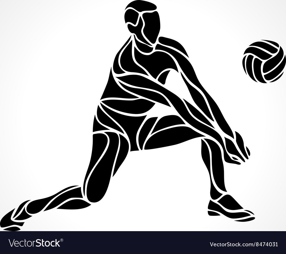 Volleyball Player Silhouette Royalty Free Vector Image
