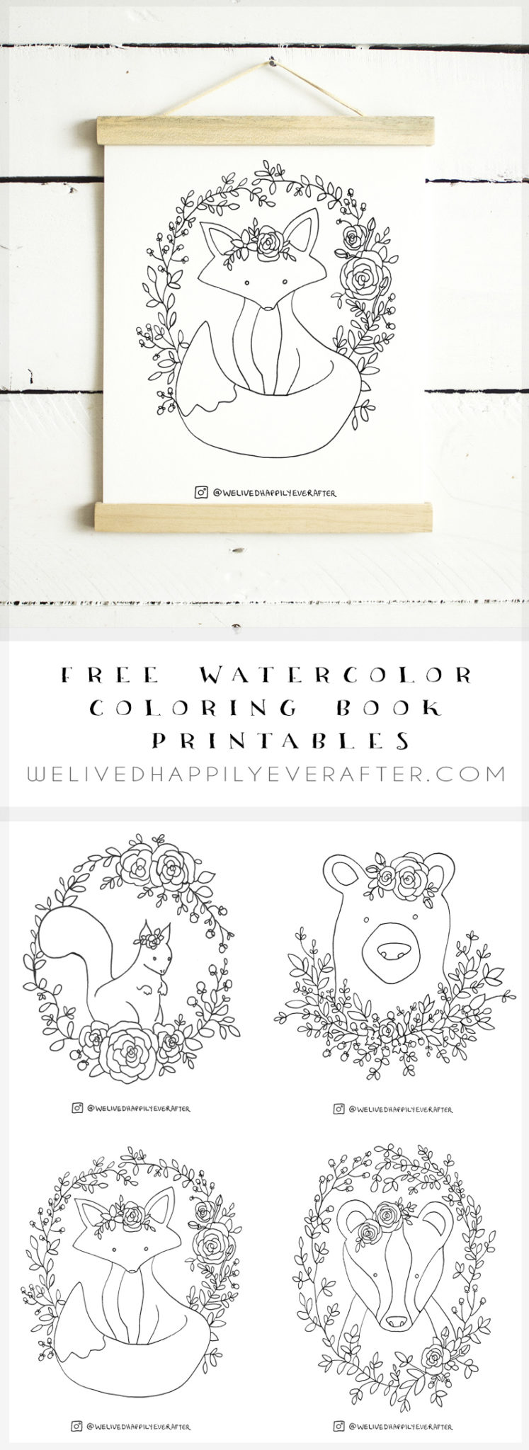 Free Watercolor Adult Coloring Book Printable Sheets