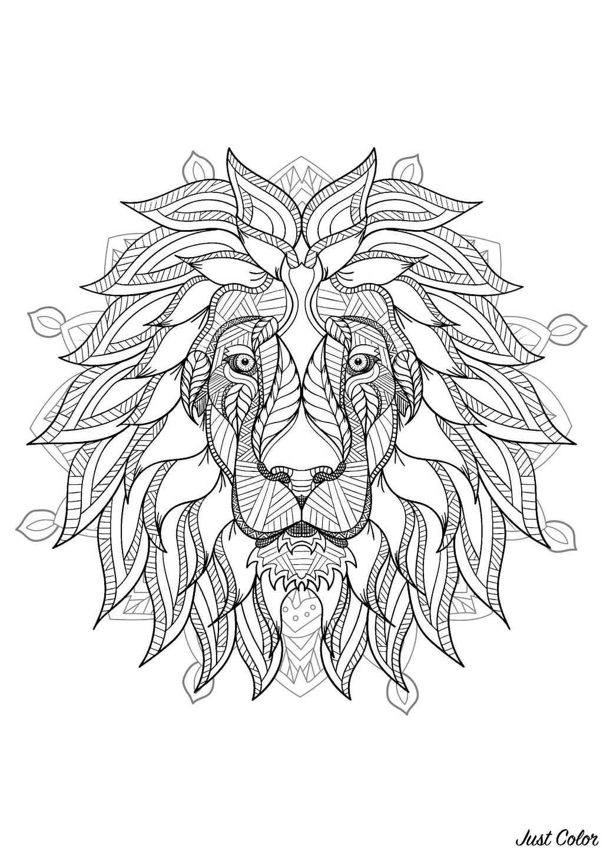 Mandala With Elegant Lion Head And Geometric Patterns