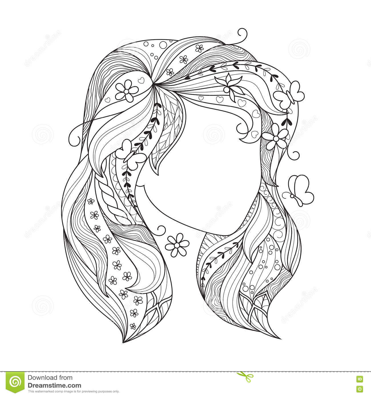 Zen Art Girl  Portrait Of A Female With Zentangle Hair For The
