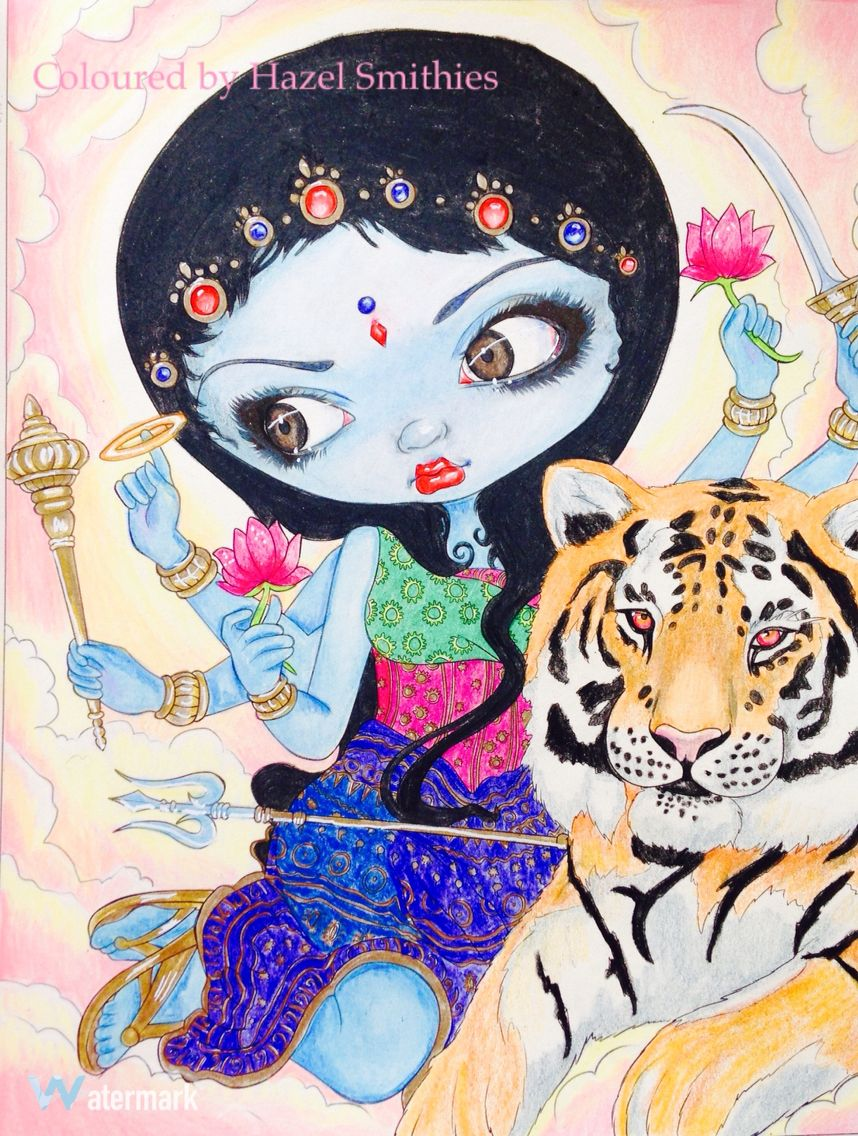 Durga And The Tiger From A Fantasy Art Adventure By Jasmine Becket