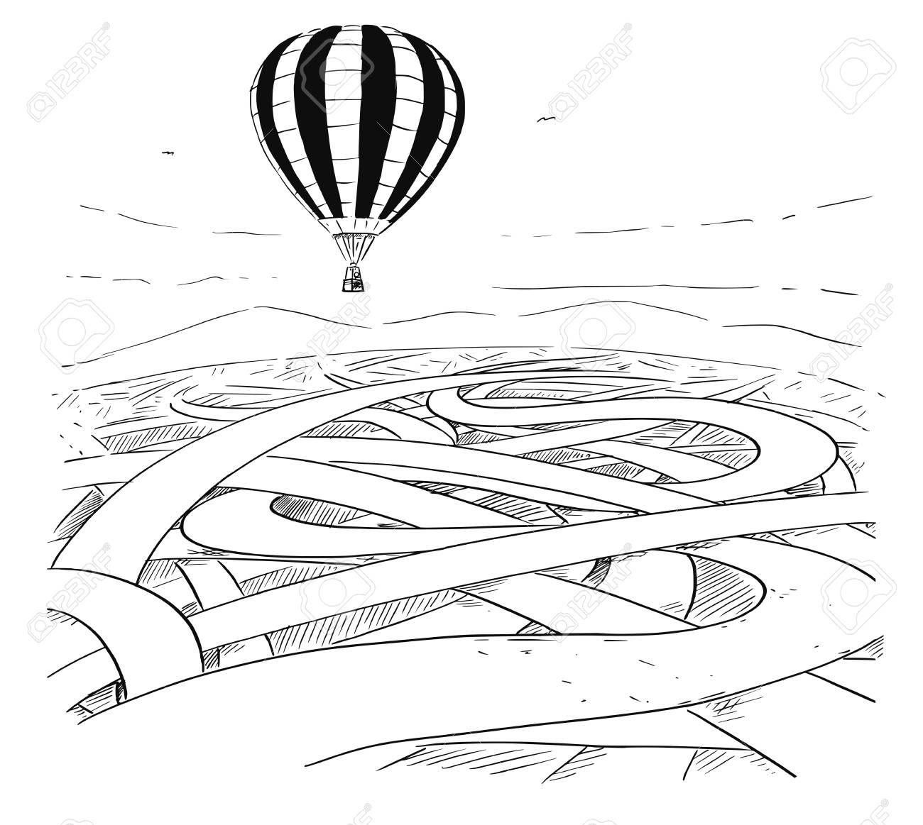 Cartoon Drawing Conceptual Illustration Of Hot Air Balloon Flying