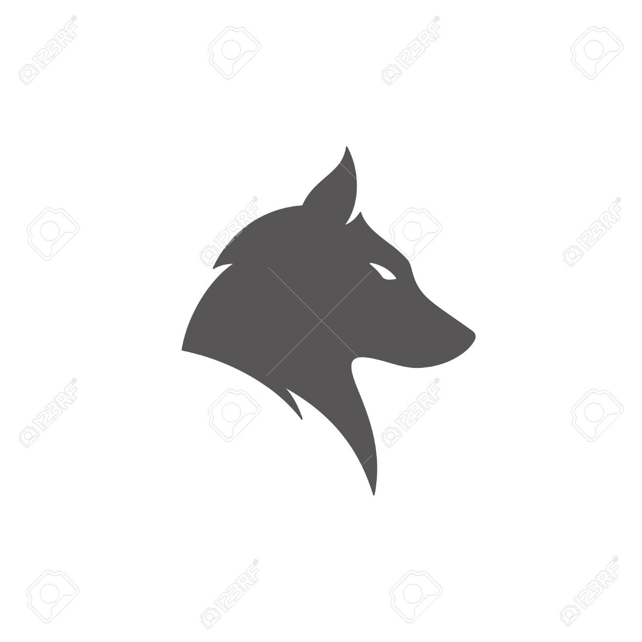 Wolf Silhouette Isolated On White Background Vector Illustration