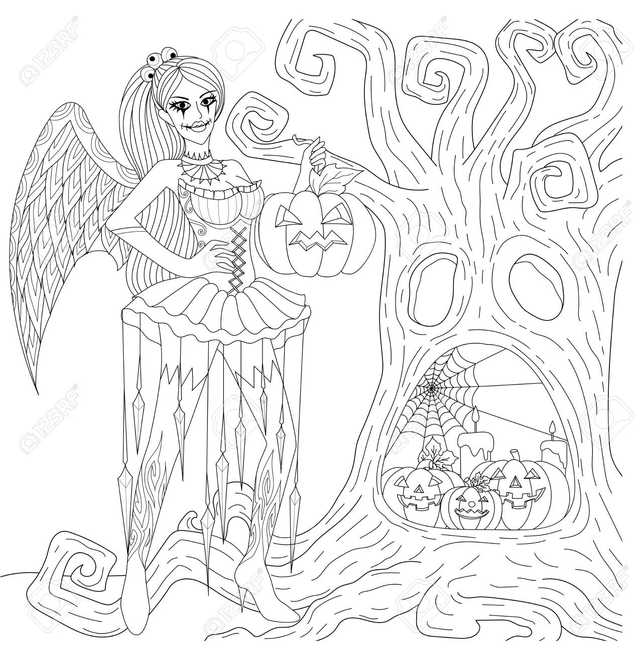 Halloween Coloring Pages  Coloring Book For Adults  Gothic Girl