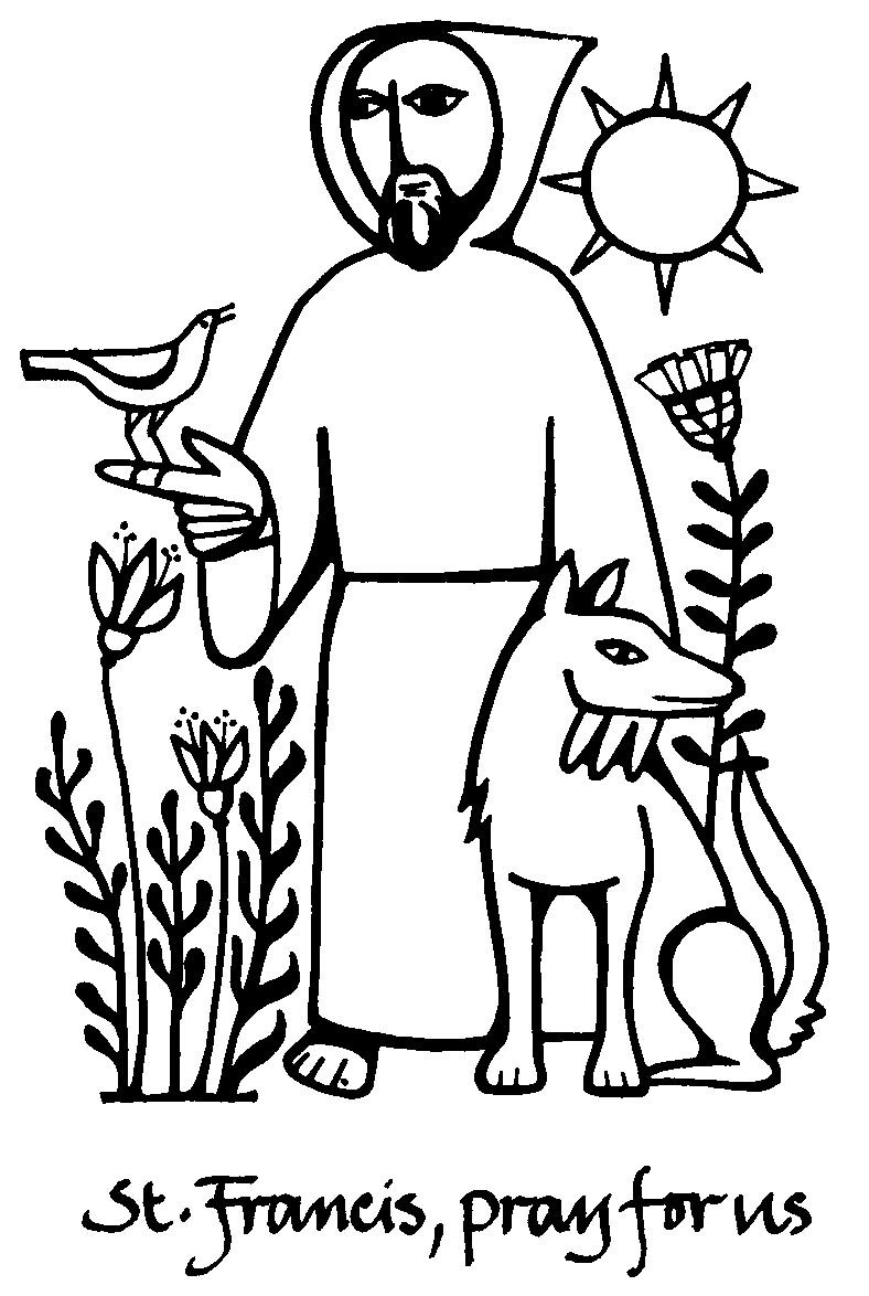 Saint Francis Of Assisi Catholic Coloring Page  Feast Day Is