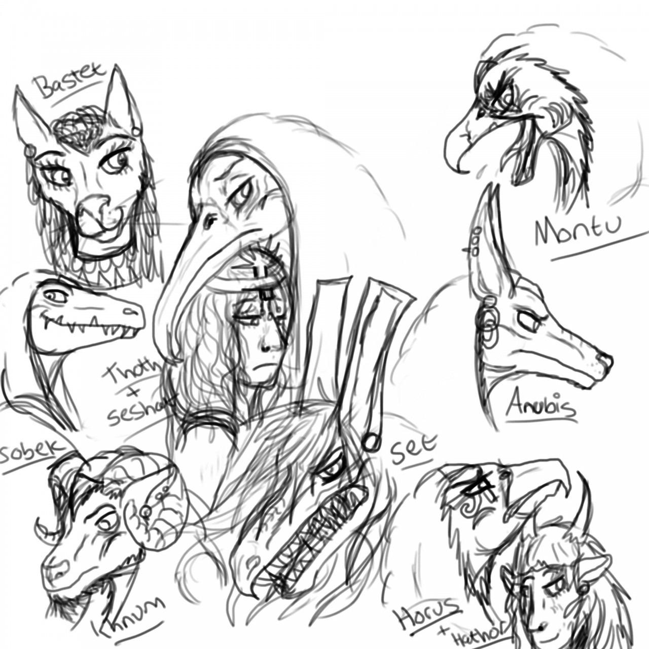 Egyptian God Sketches By Threski