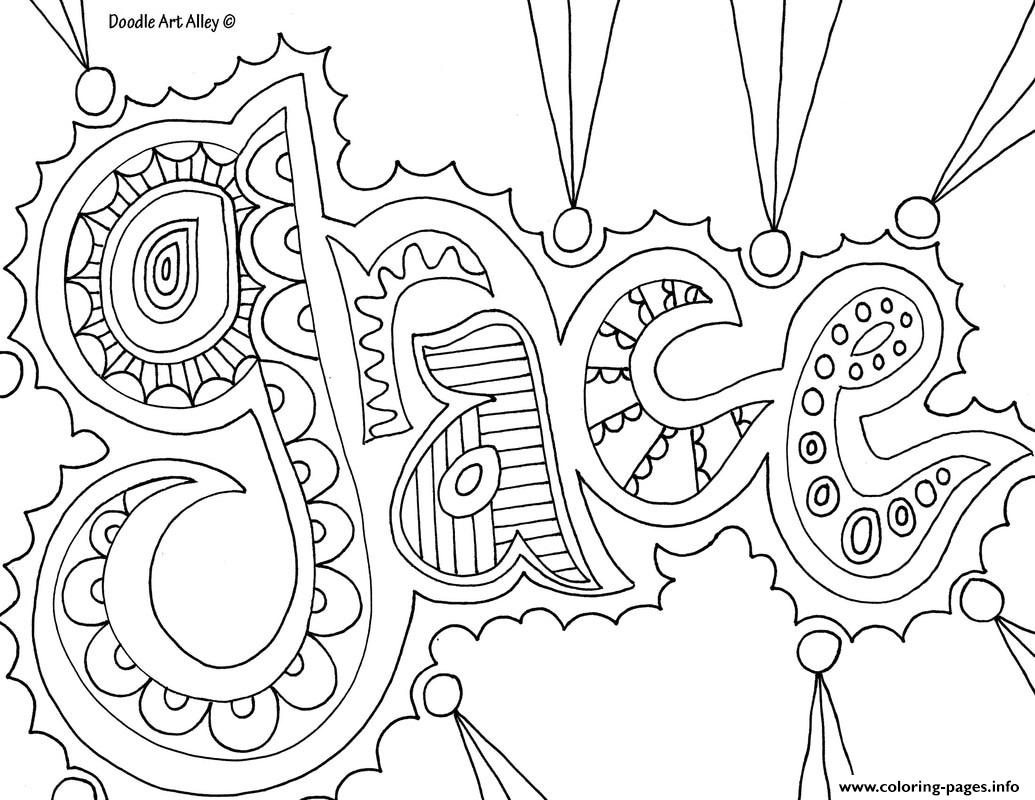 Grace Word Coloring Pages Printable