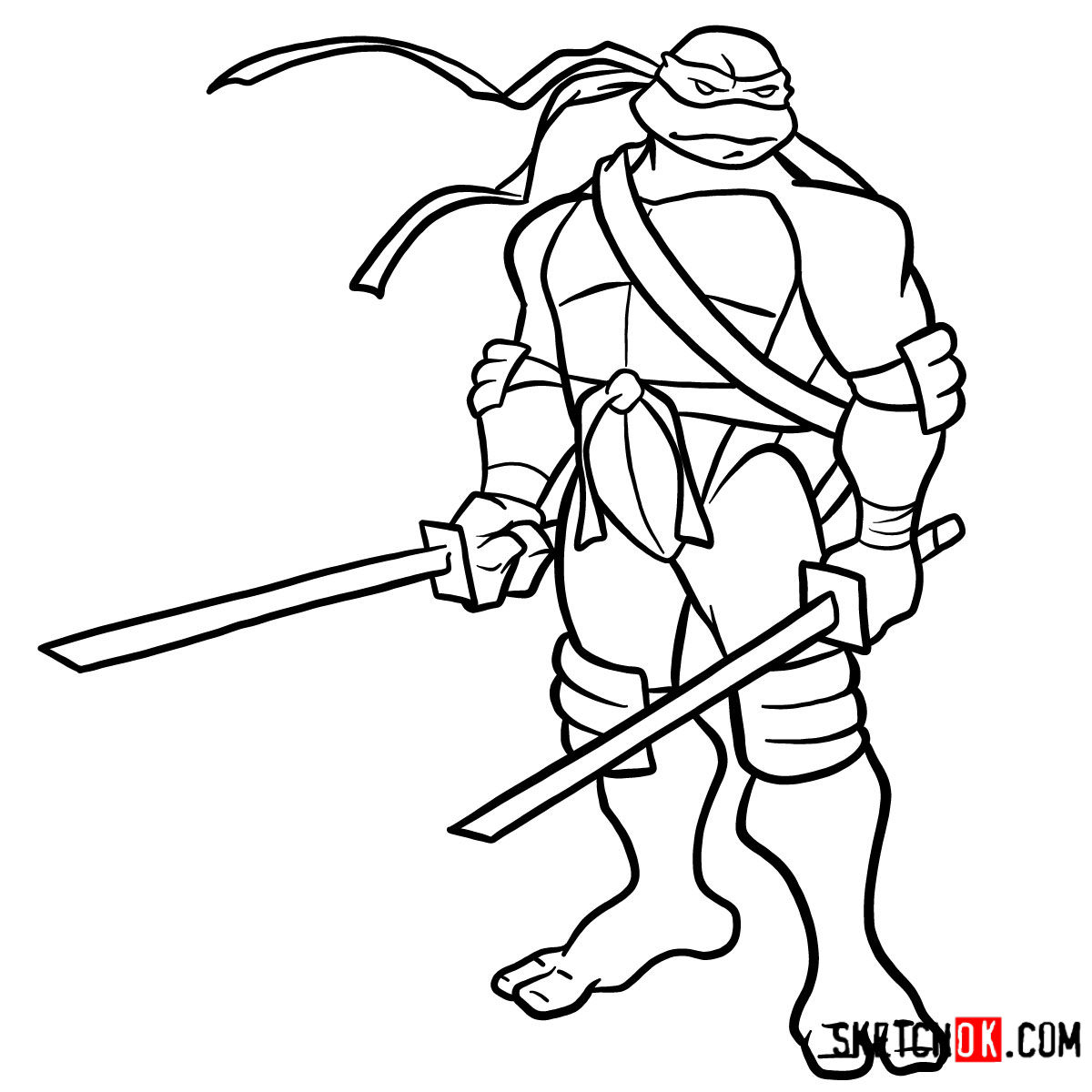 How To Draw Leonardo With Ninjatos