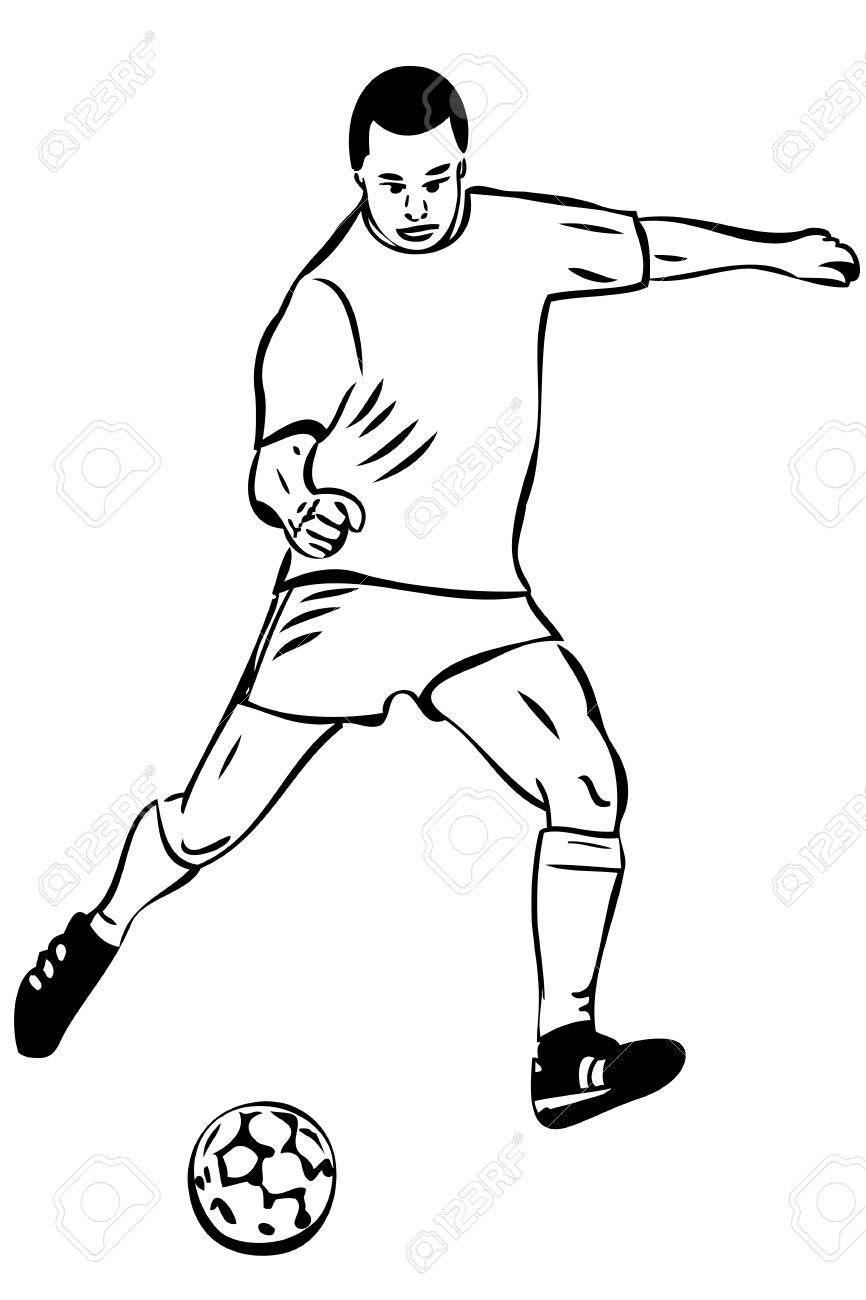 Sketch Athlete Football Player With The Ball Royalty Free Cliparts