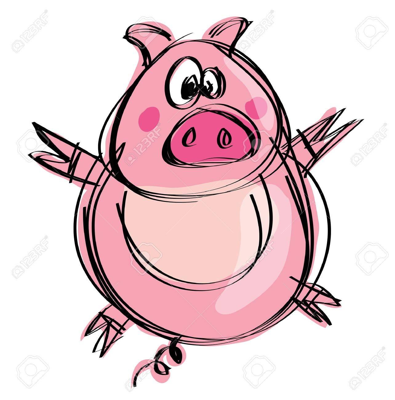 Cartoon Funny Naif Baby Pig In A Naif Childish Drawing Style