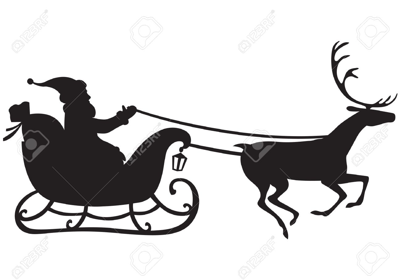 Silhouette Of Santa Claus Riding A Sleigh Pulled By Reindeer
