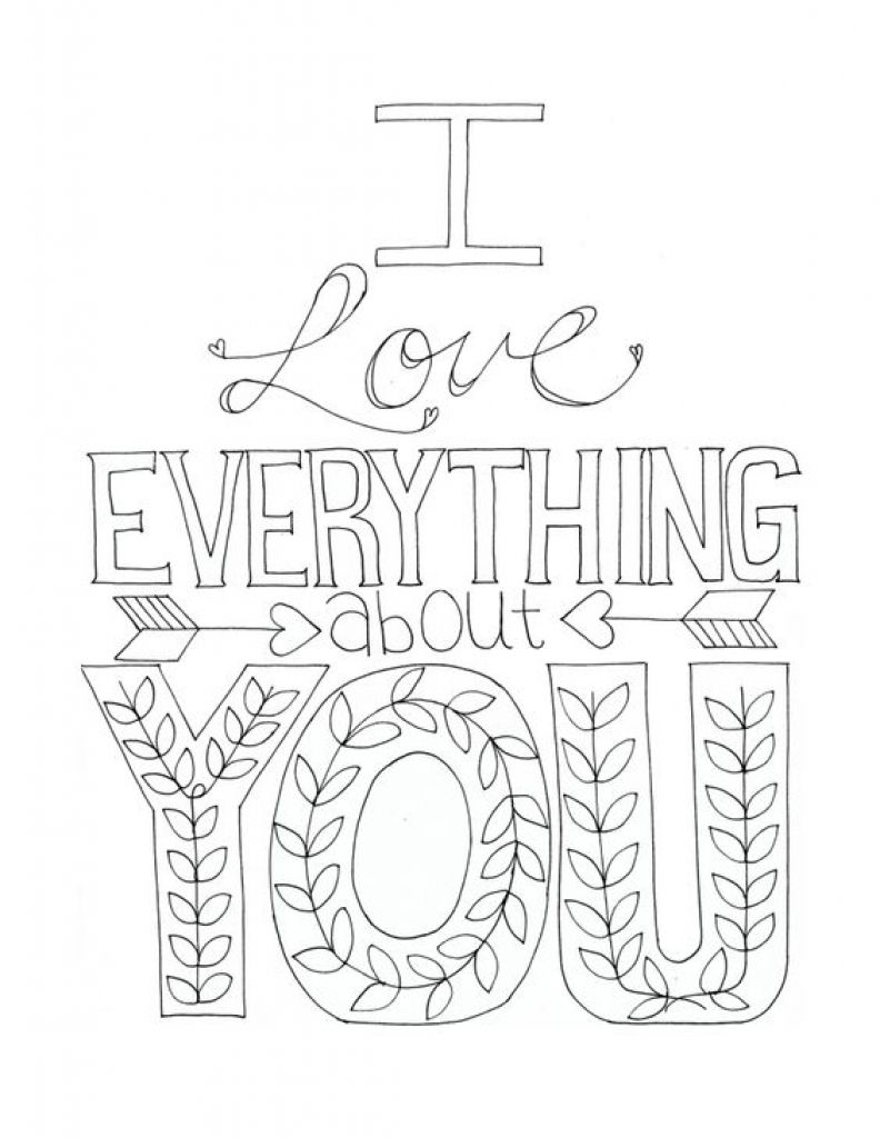 I Love Everything About You Printable Color Able Card Free