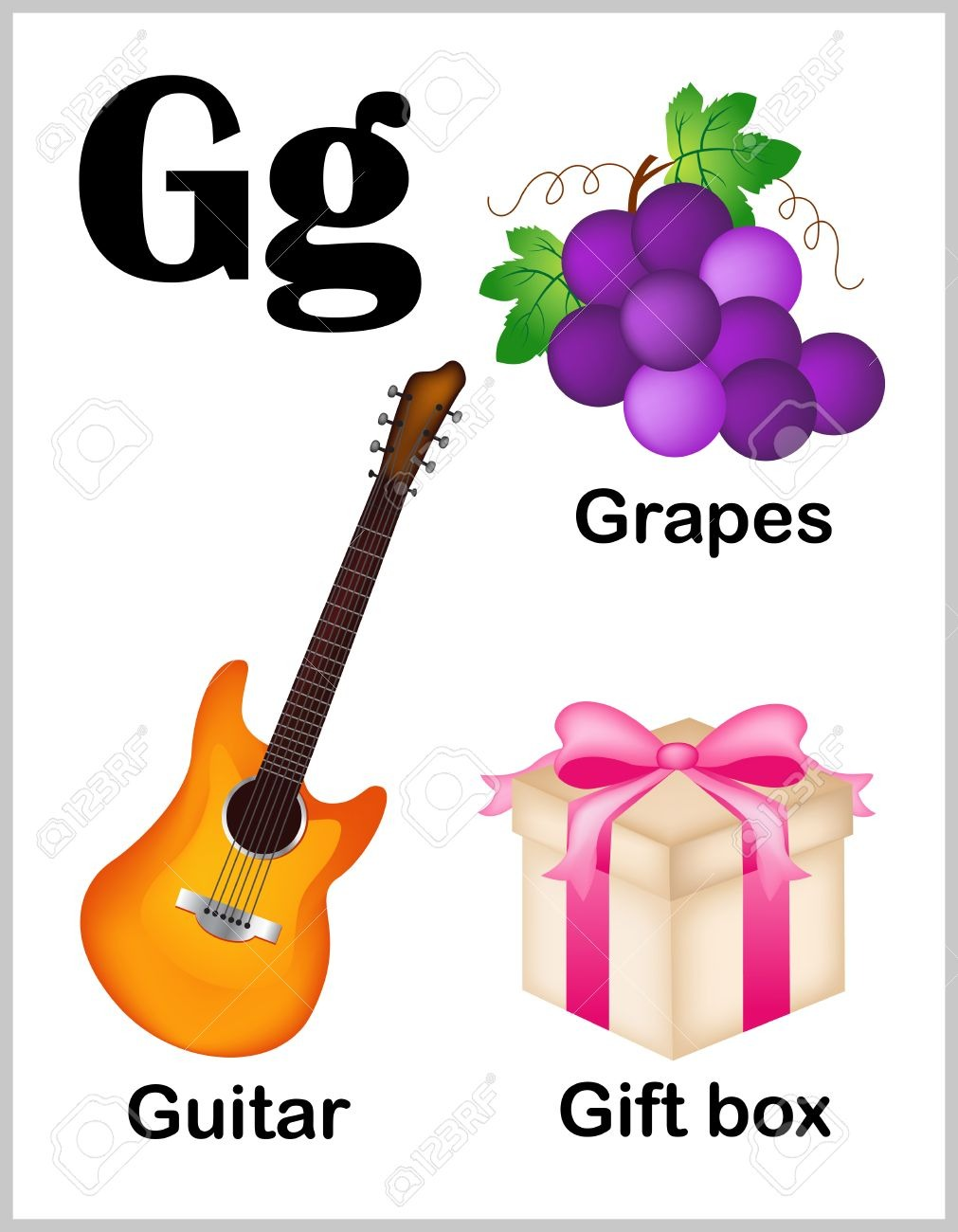 Cute And Colorful Alphabet Letter G With Set Of Illustrations