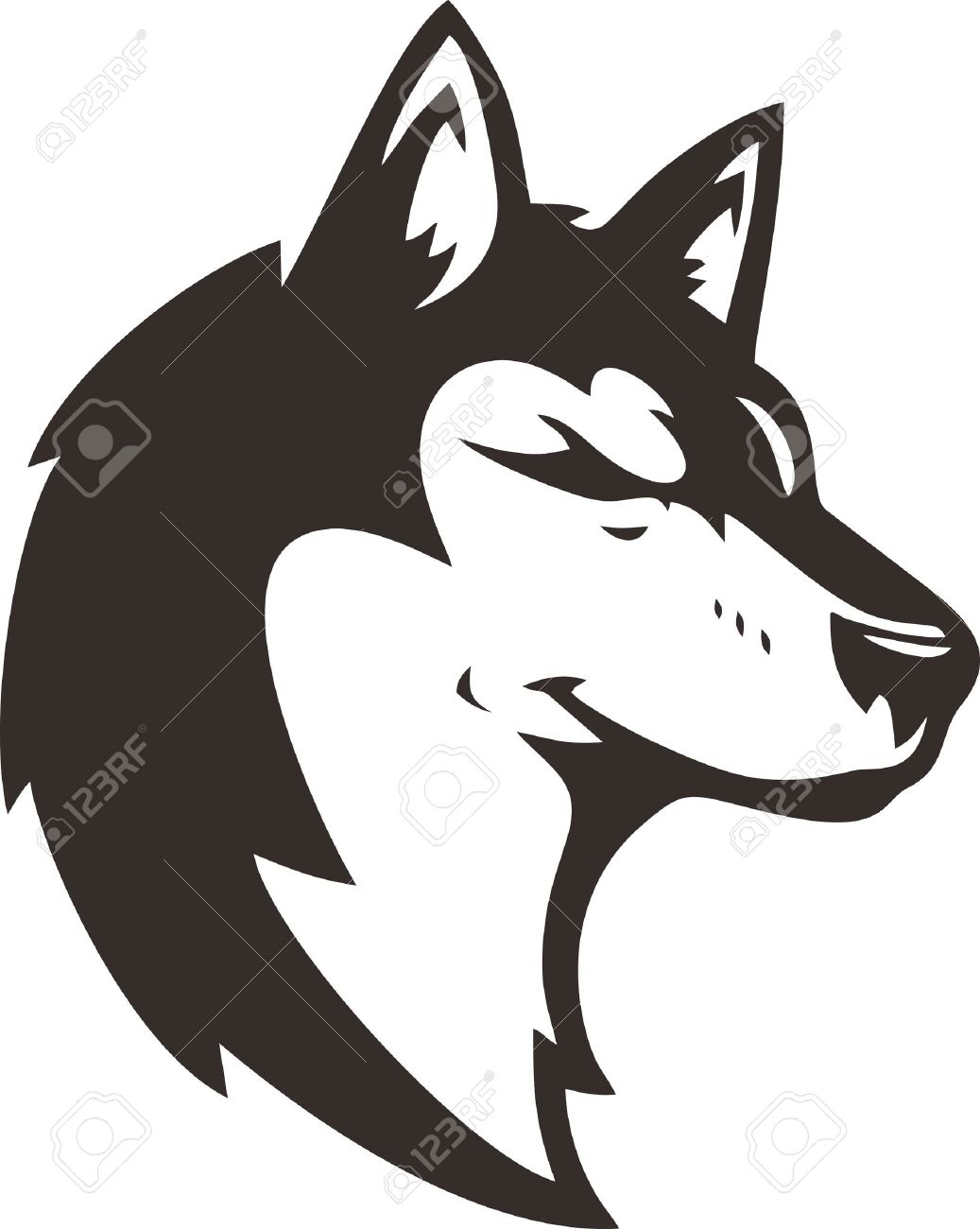 Wolf Head Silhouette Royalty Free Cliparts, Vectors, And Stock
