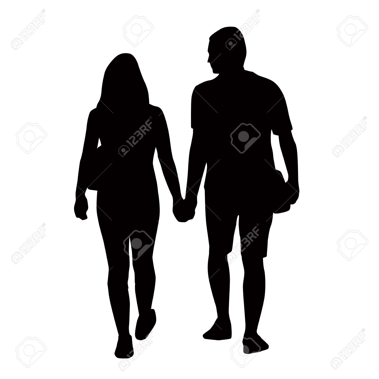 Couple Of Young People Holding Hands Silhouettes Royalty Free