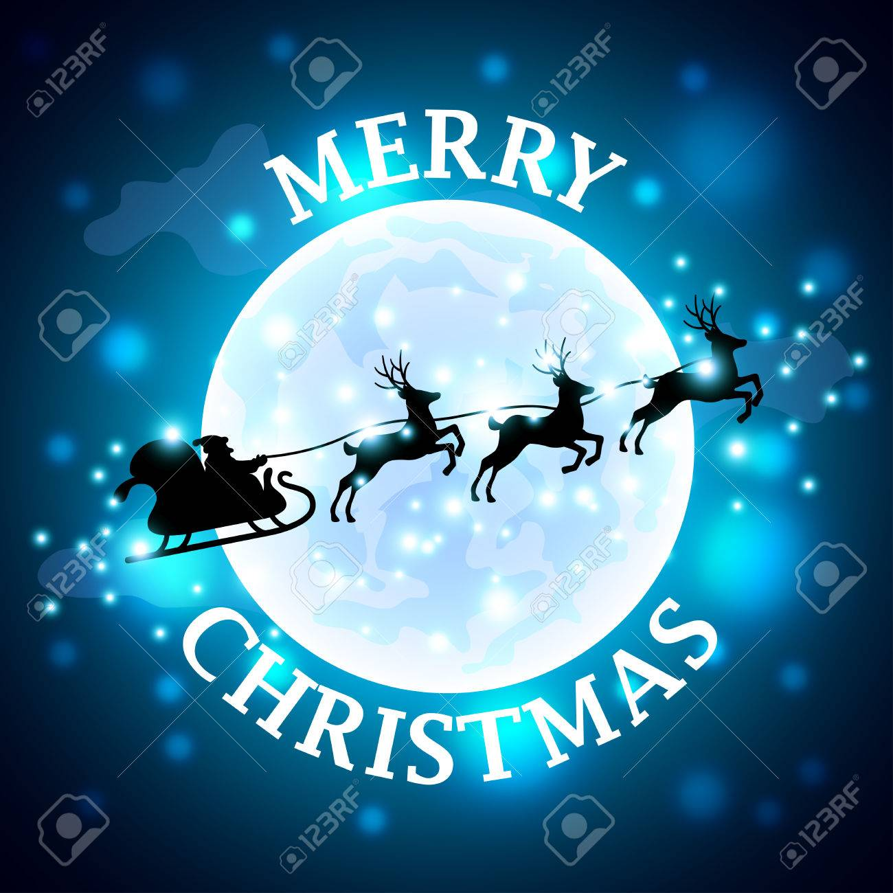 Santa Reindeer Silhouette On Moon Background Realistic Vector
