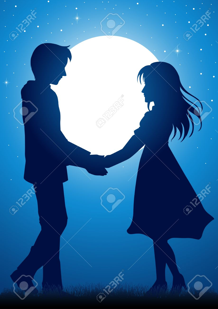 Silhouette Illustration Of Young Couple Holding Hands Under The