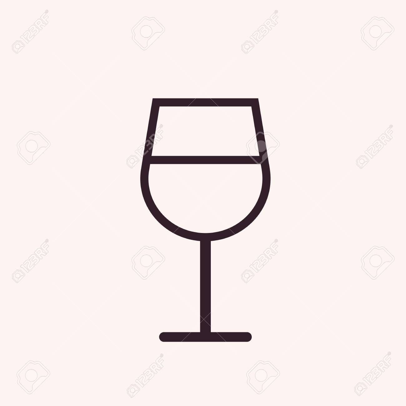 Wine Glass Outline Icon, Modern Minimal Flat Design Style, Vector