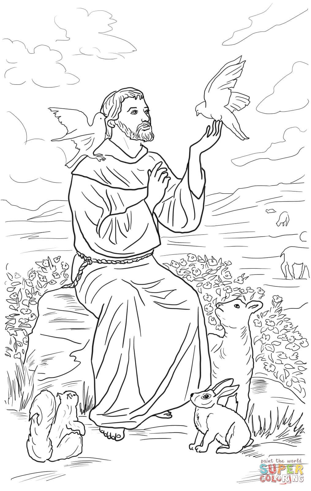 Saint Francis Of Assisi Coloring Page From Saints Category  Select