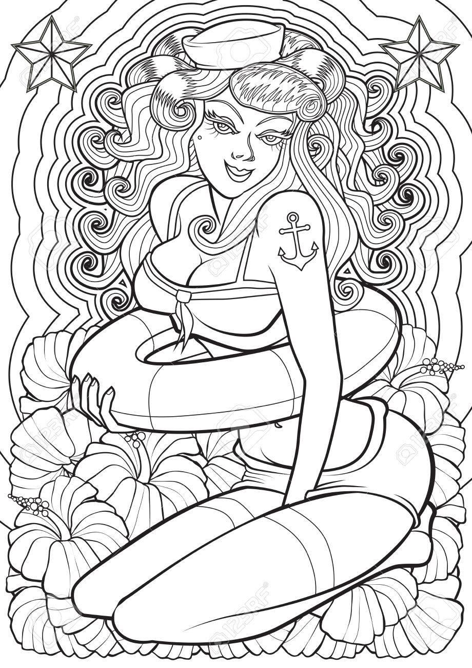 Adult Coloring Book Illustration  Tattoo Set  Pin