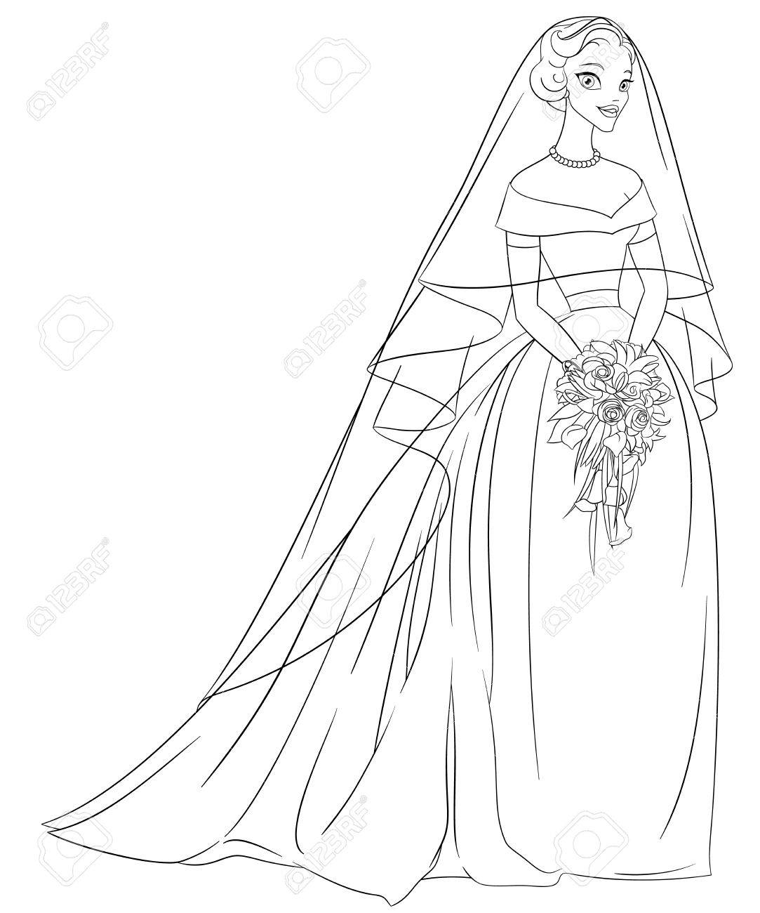 Outlined Bride With Veil And Bouquet  Print For The Coloring