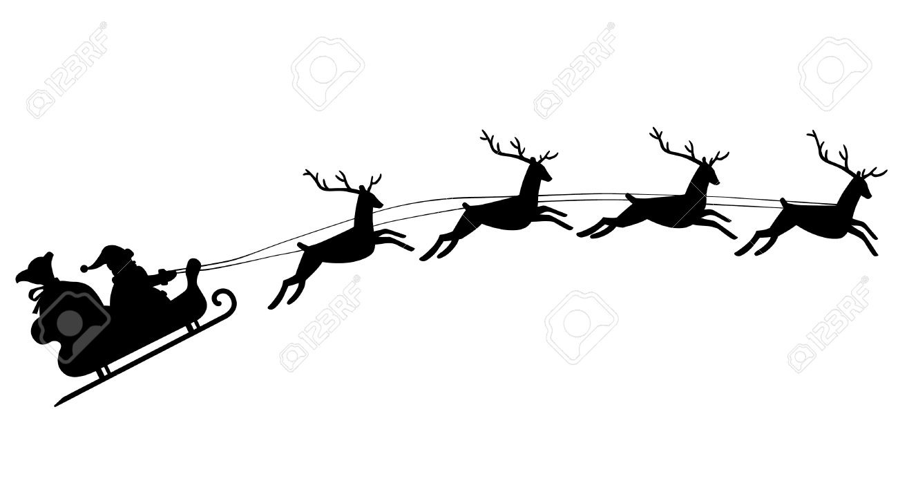 Silhouette Of Santa Claus Riding In A Sleigh With Reindeer Royalty