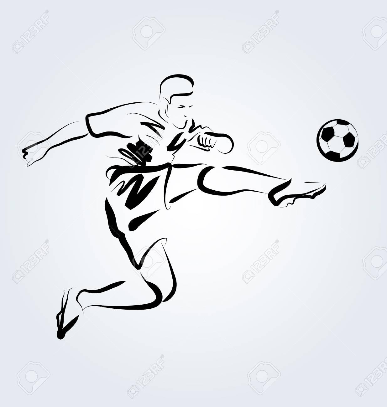 Vector Line Sketch Footballer Royalty Free Cliparts, Vectors, And