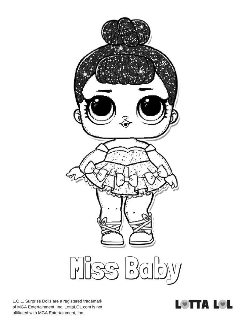 Miss Baby Glitter Coloring Page Lotta Lol
