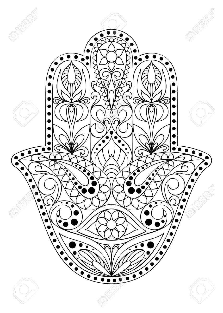 Hand Drawn Hamsa Symbol  Hand Of Fatima  Ethnic Amulet Common