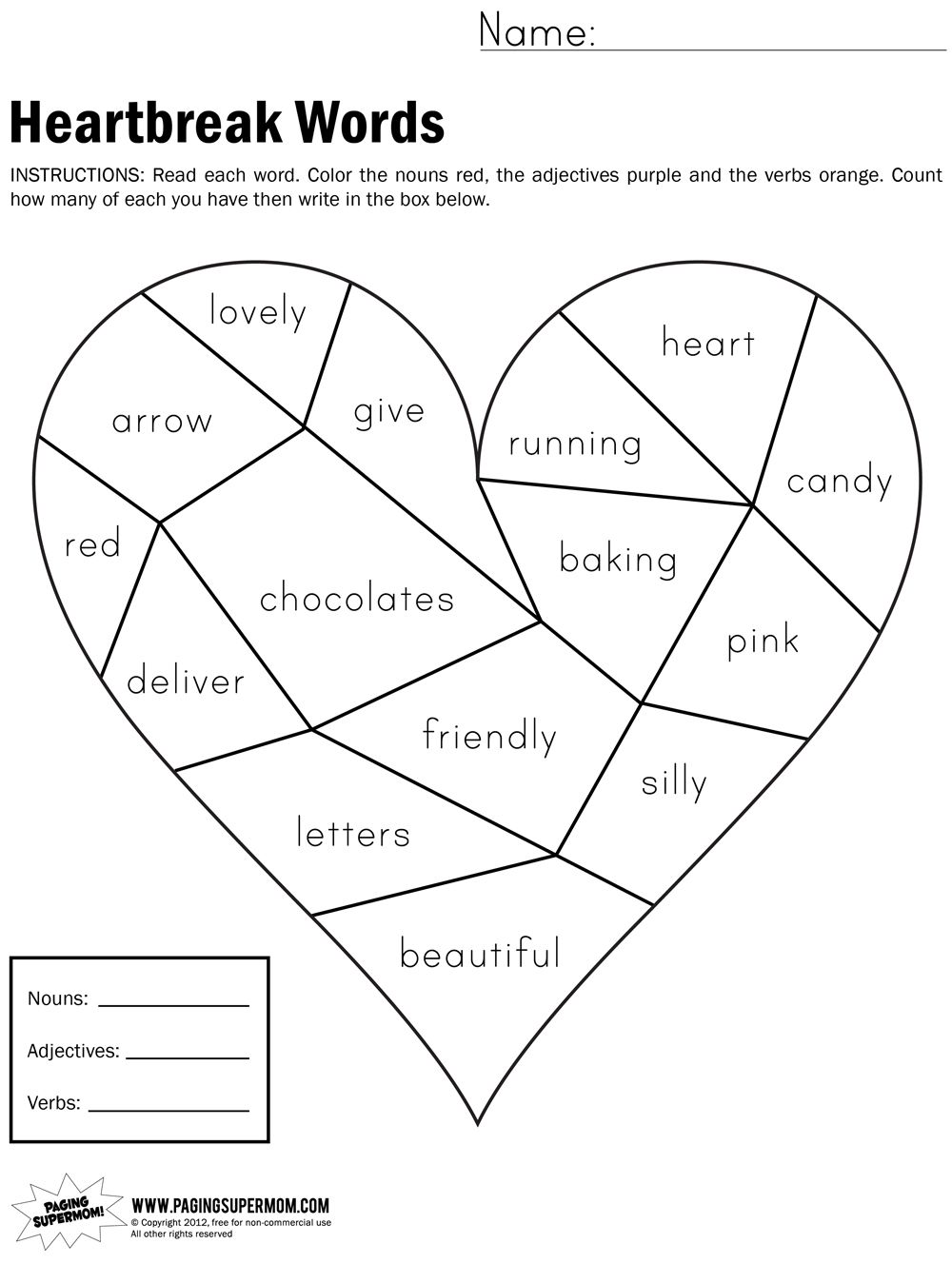 Heartbreak Words Free Printable Worksheet