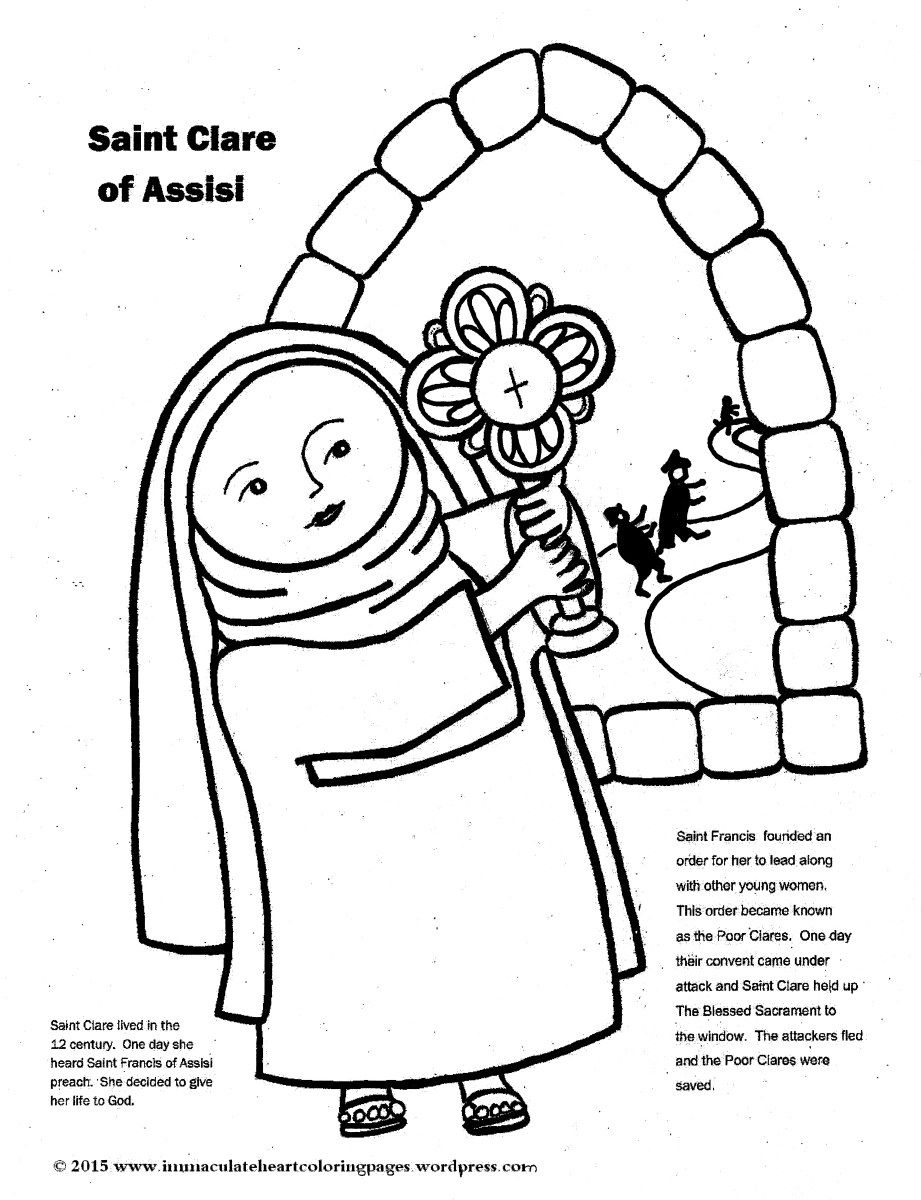Saint Clare Of Assisi Coloring Page