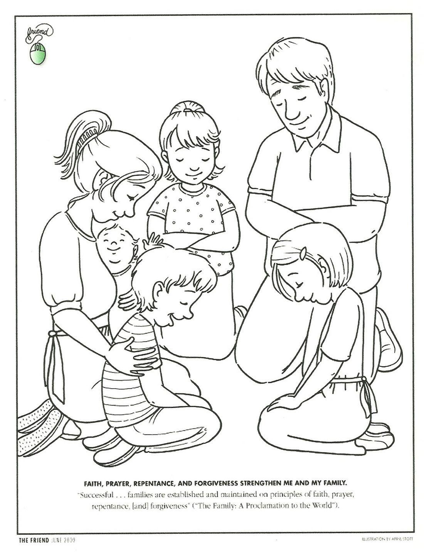 Dibujo Para Colorear  Familia Orando   Catequesis  Www
