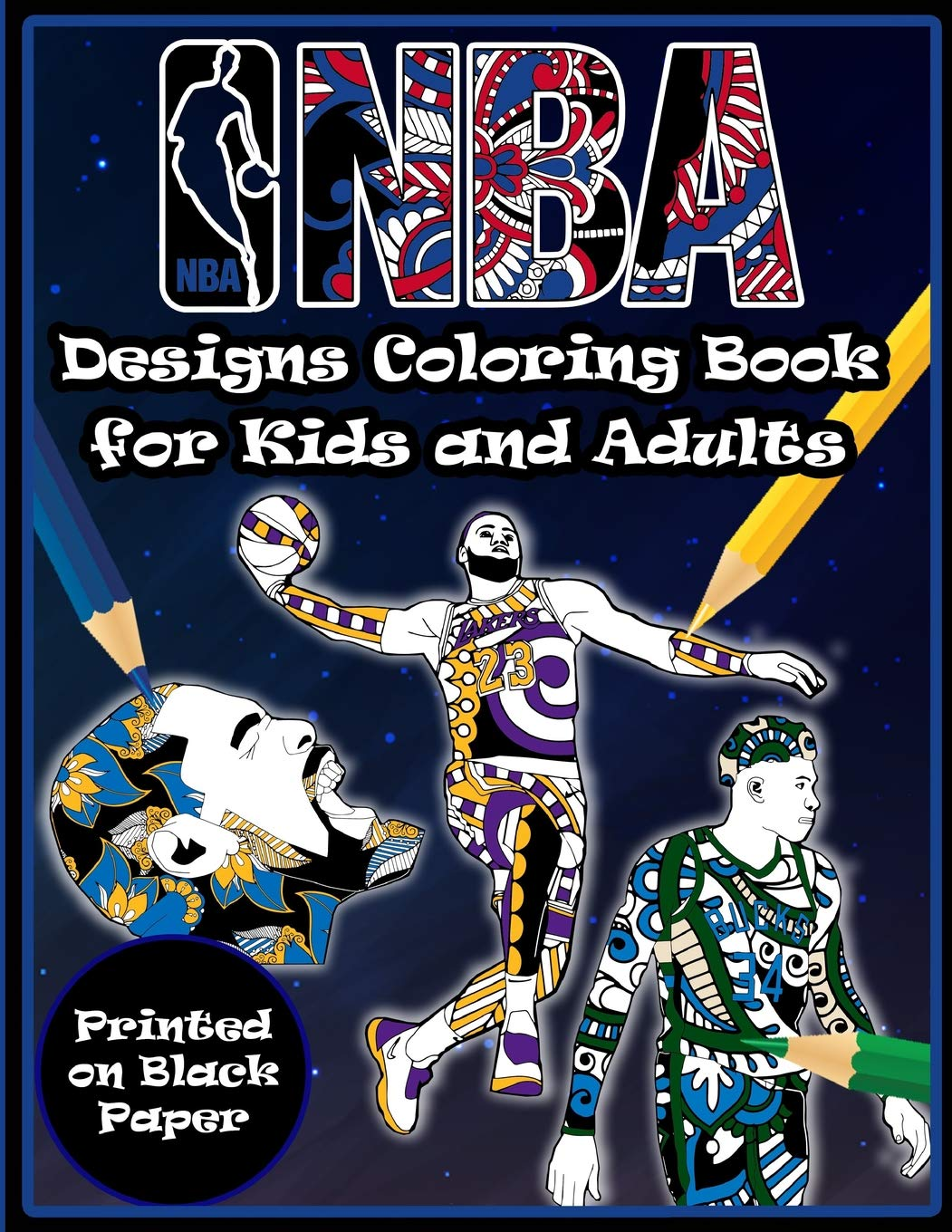 Nba Designs Coloring Book For Kids And Adults  Printed On Black