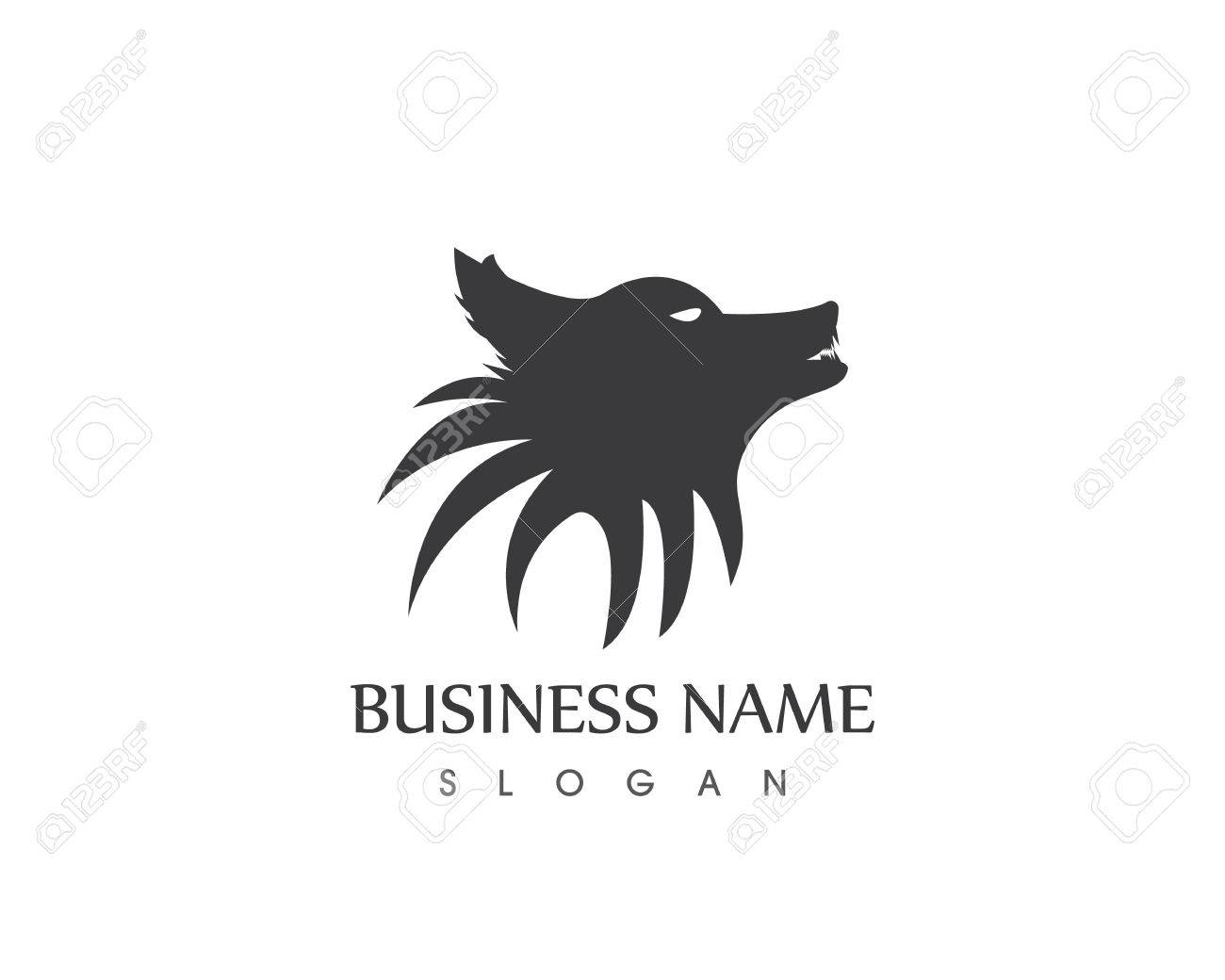 Wolf Head Silhouette Logo Design Vector Template Royalty Free