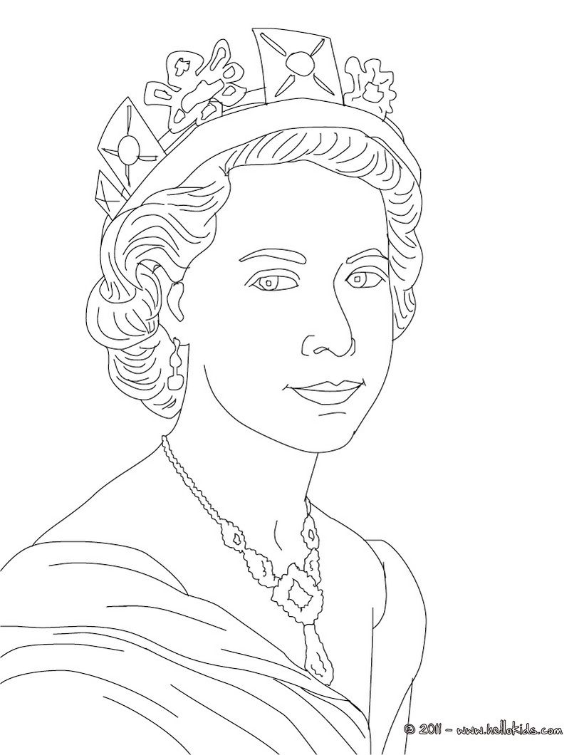 Queen Elizabeth Ii Colouring Page, Great For Printing Or Maybe For