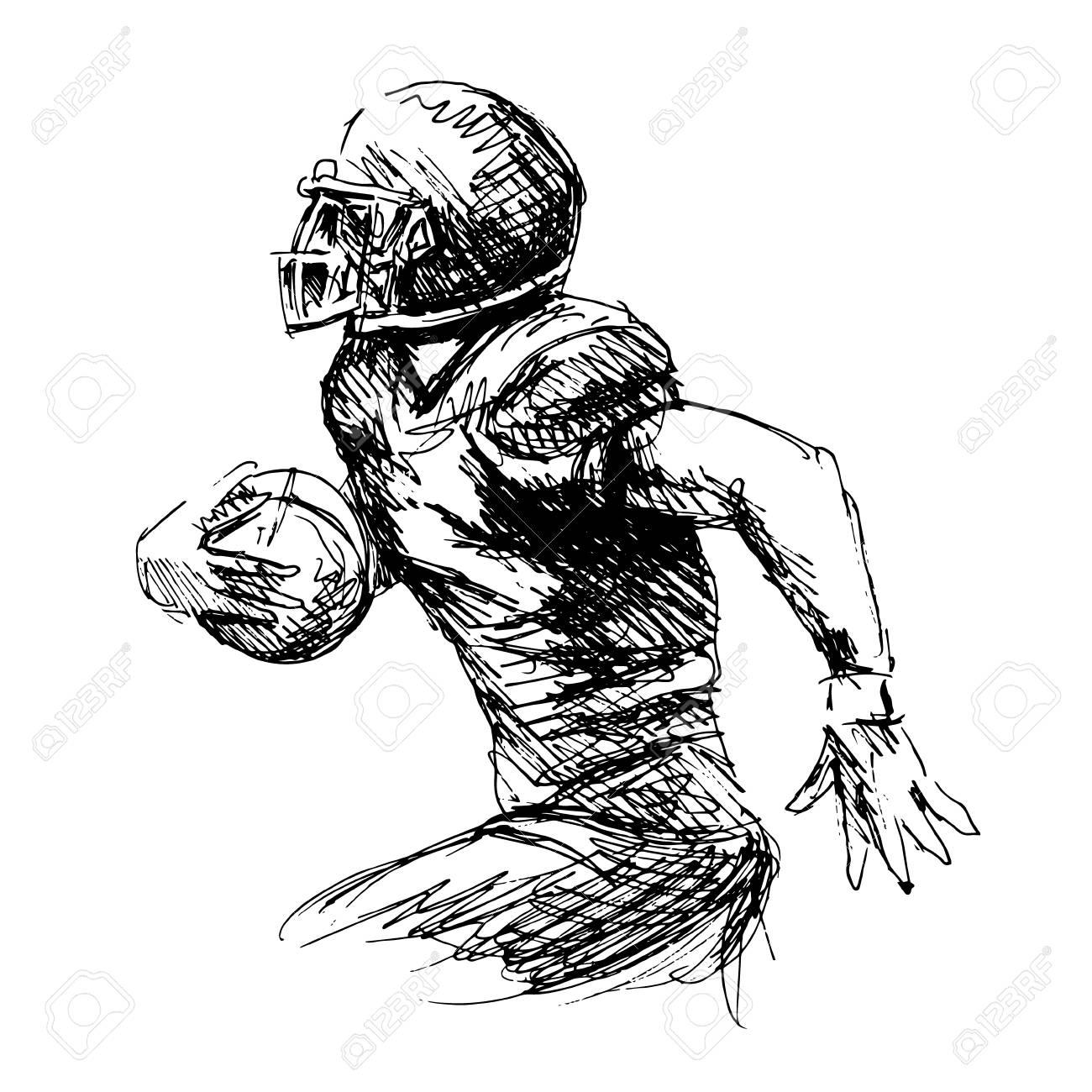 Hand Sketch American Football Player Illustration  Royalty Free