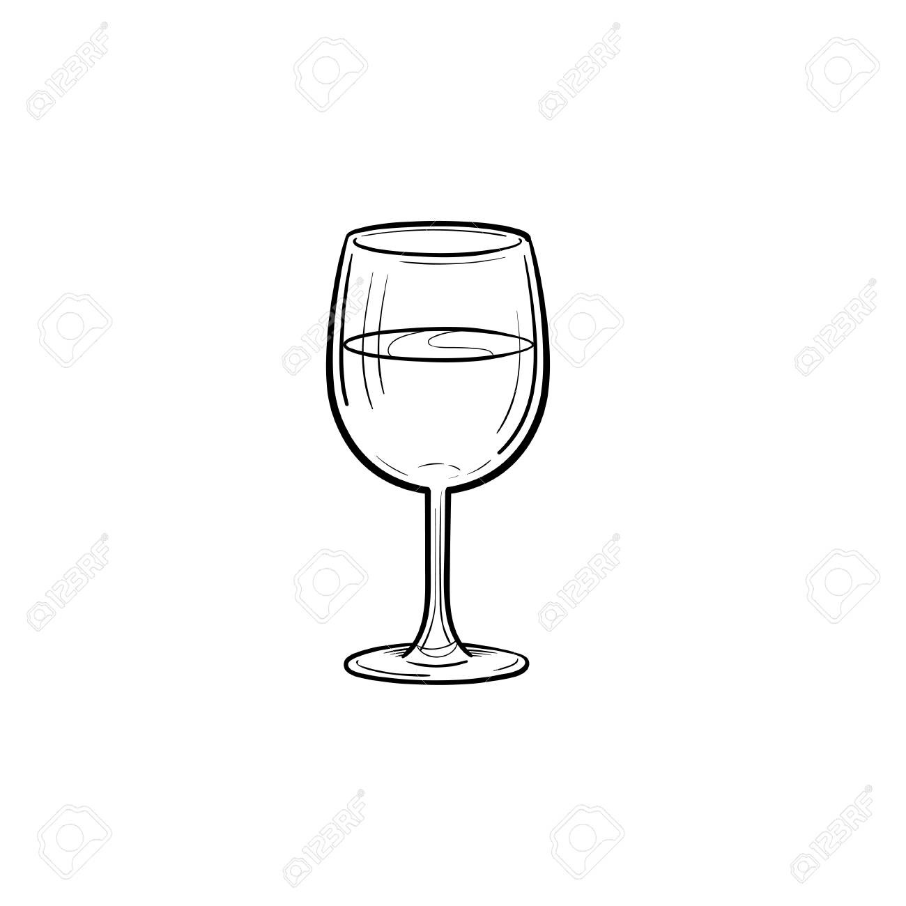Wine Glass Hand Drawn Outline Doodle Icon  Vector Sketch