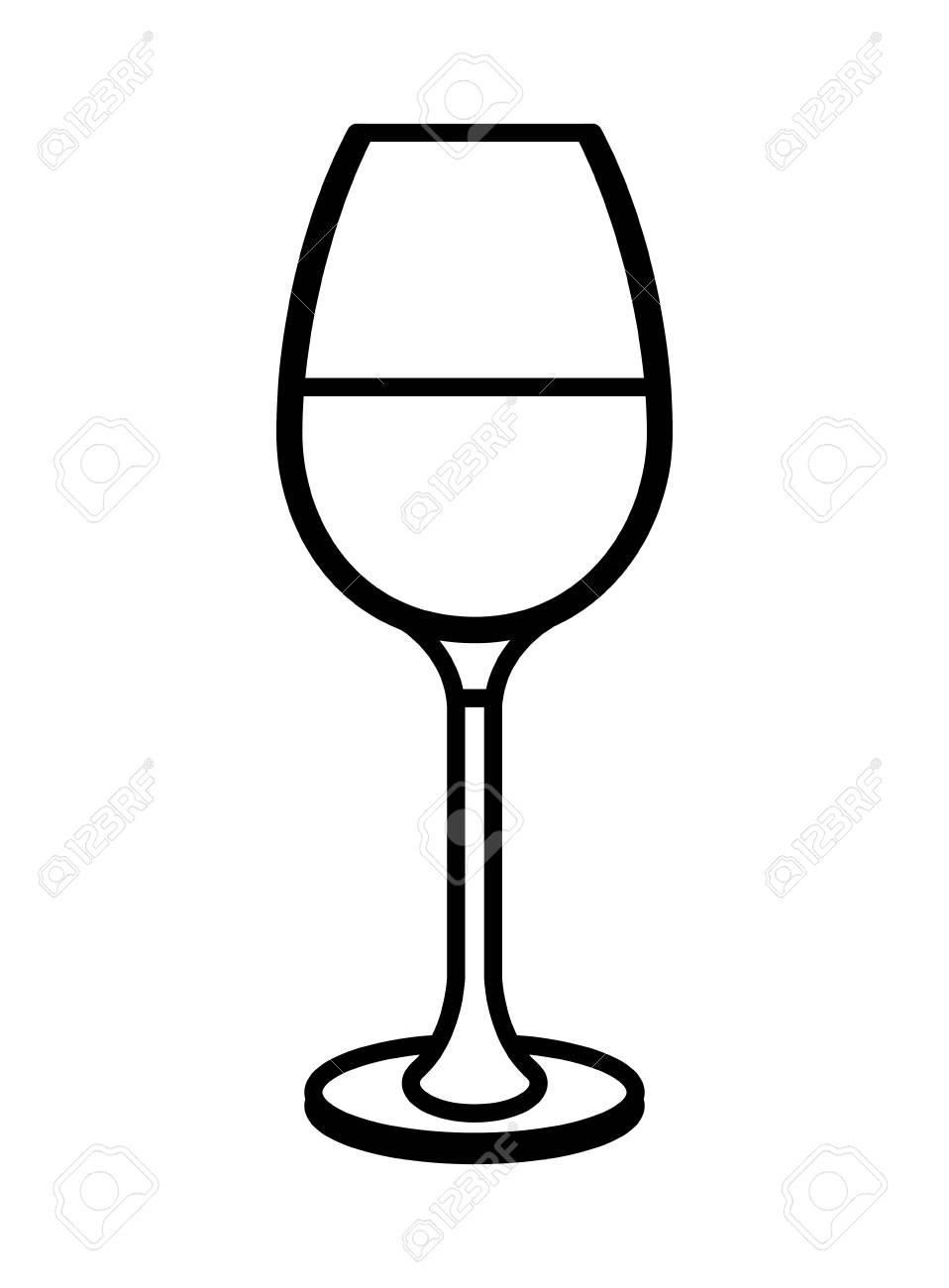 Wine Glass Icon Illustration Outline Royalty Free Cliparts