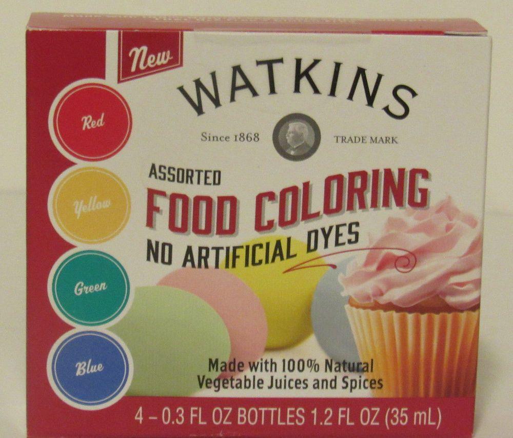 Jr Watkins Assorted Food Coloring Red Yellow Green Blue Natural
