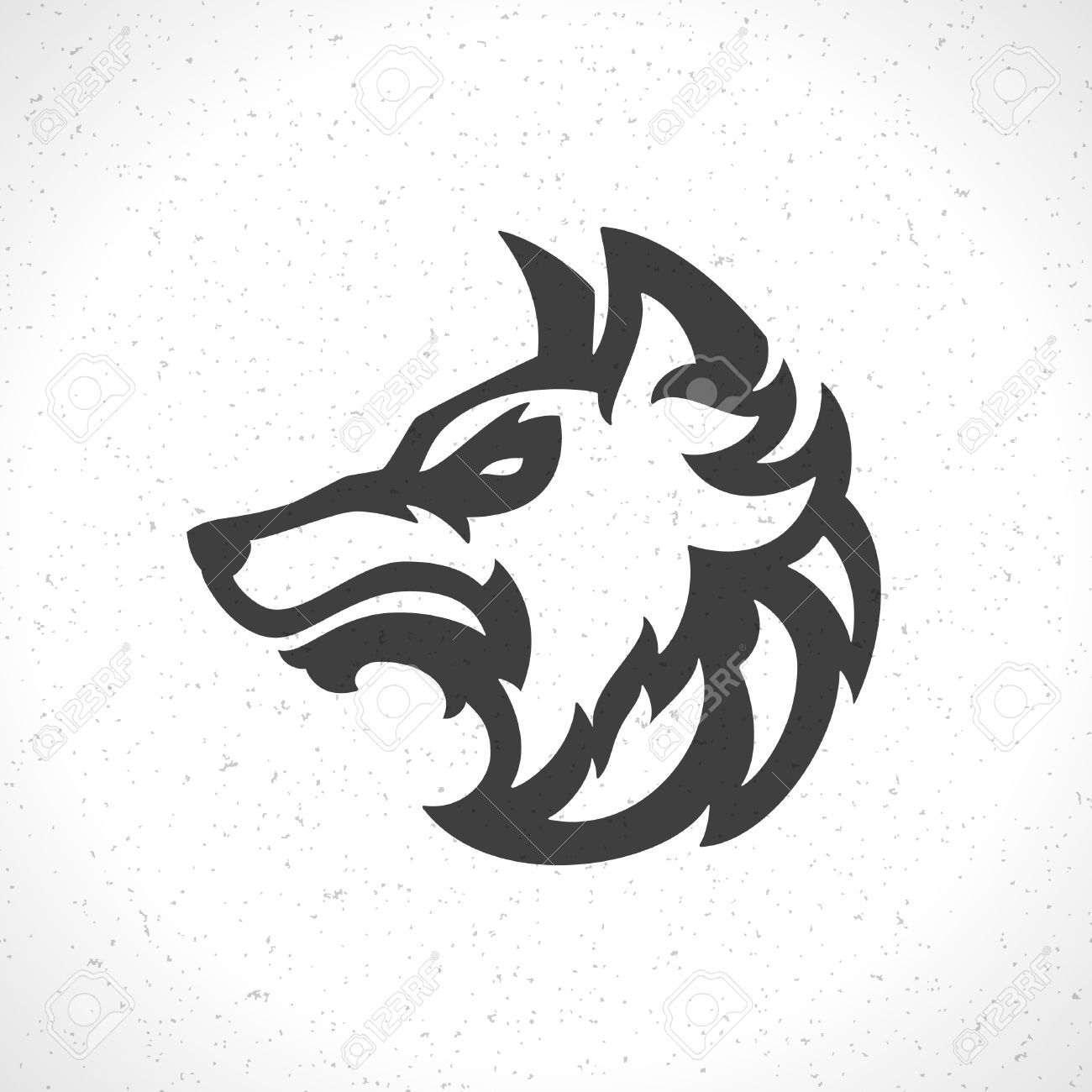 Wolf Head Silhouette  Wolf Face Icon Emblem Template Mascot Symbol