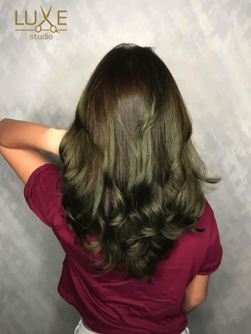 Korean Wave Perm & Matt Green Balayage Hair Color