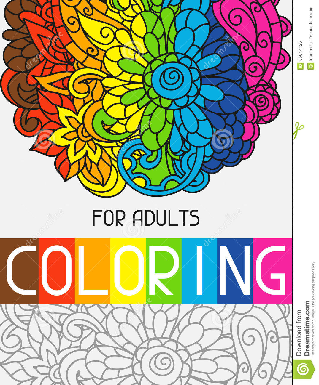 Adult Coloring Book Design For Cover  Illustration Stock Vector