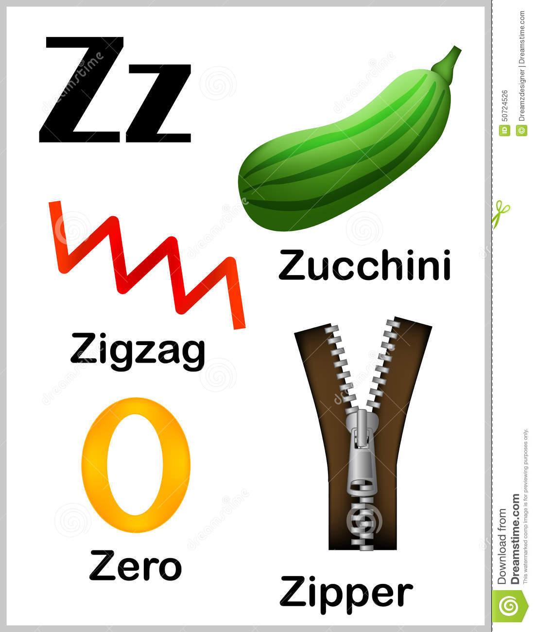Alphabet Letter Z Pictures Stock Vector  Illustration Of Nursery