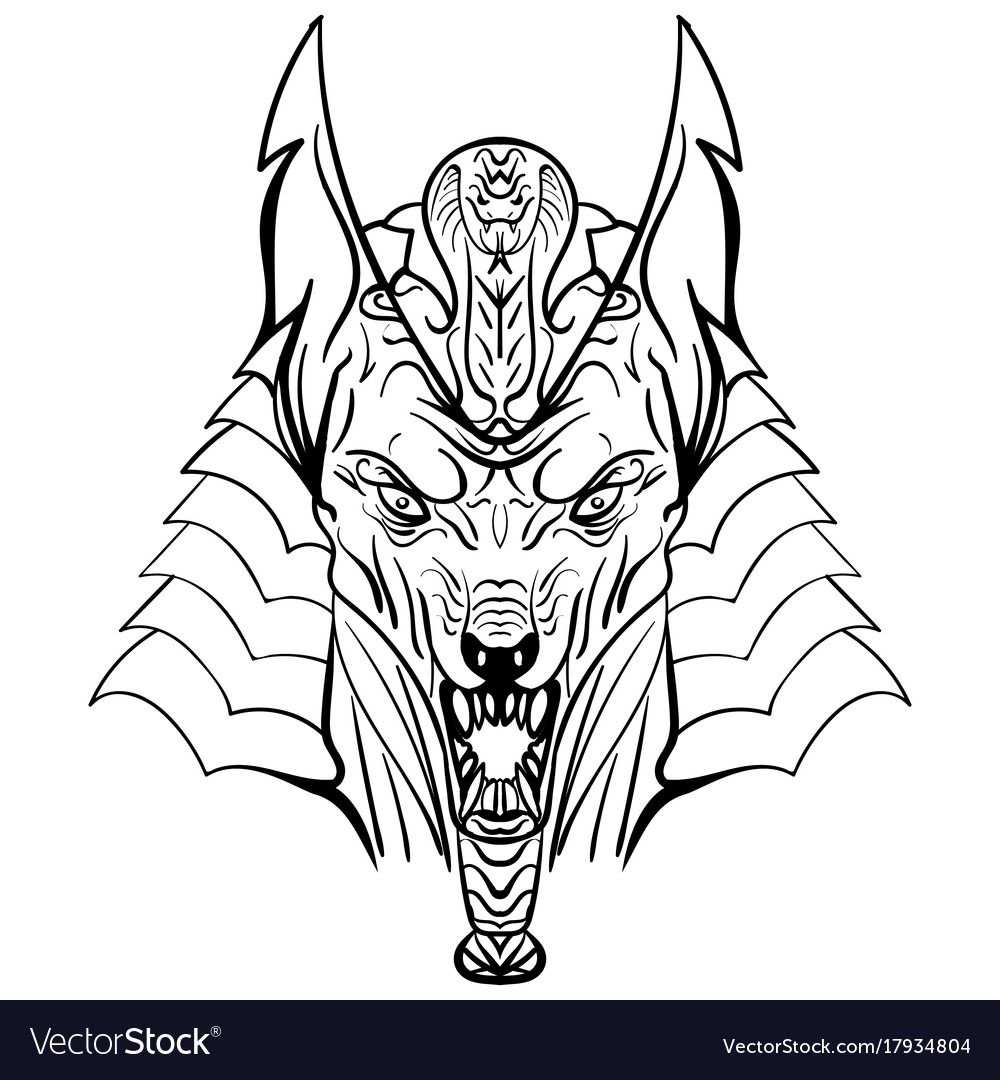 Ancient Egyptian God Anubis Head Royalty Free Vector Image