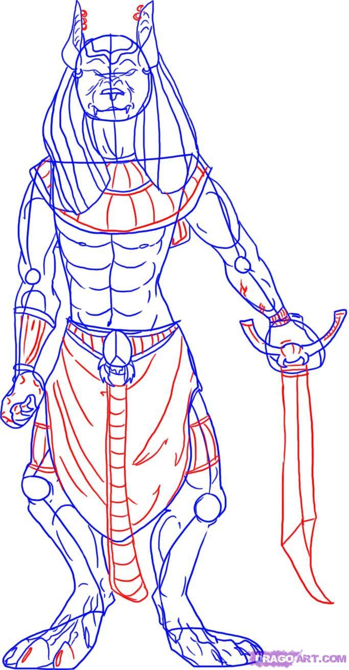 Anubis Bastet Drawing Egypt Vector Head — Iydunetwork