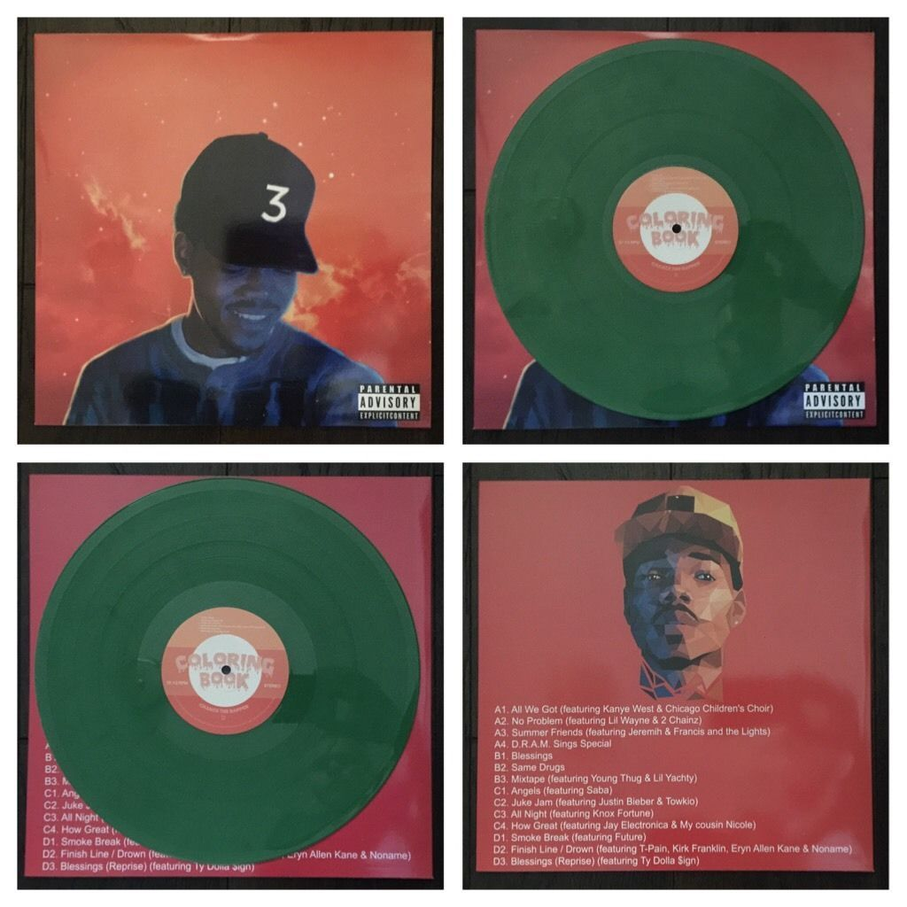 Rare Chance The Rapper Coloring Book Green Kush Color Vinyl 2 Lp